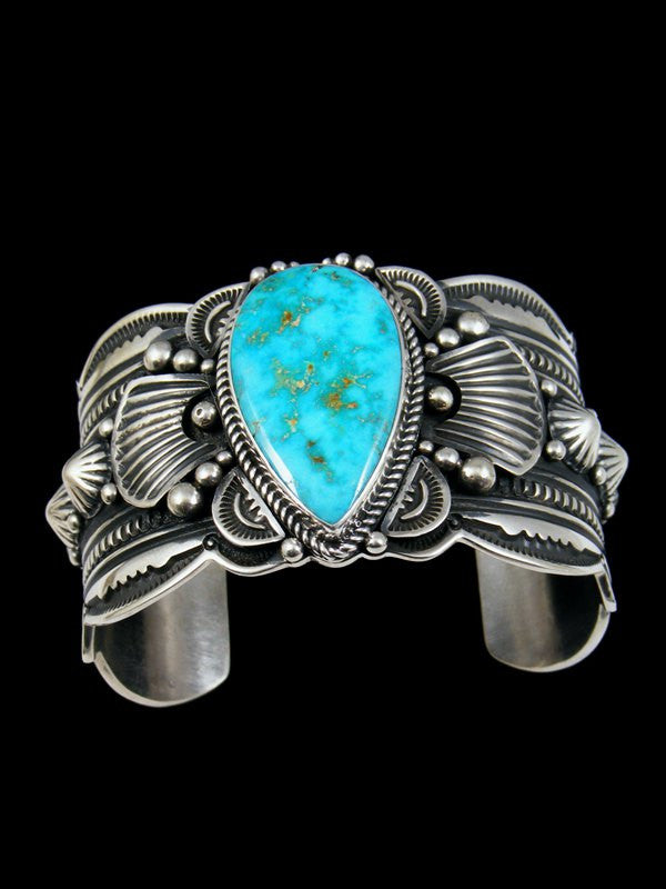 Native American Indian Jewelry Sterling Silver Morenci Turquoise Bracelet