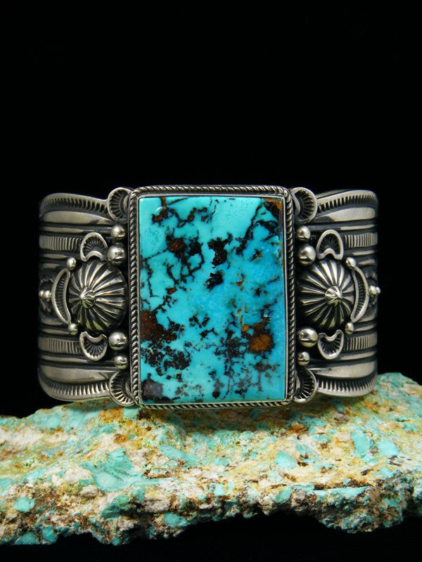 Native American Sterling Silver Pilot Mountain Turquoise Bracelet