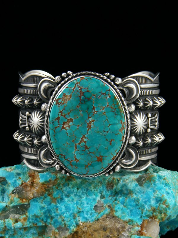 Native American Sterling Silver Natural Sierra Nevada Turquoise Cuff Bracelet
