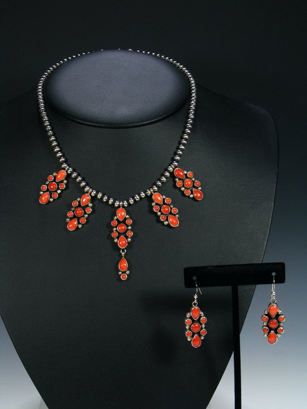 Native American Sterling Silver Natural Coral Necklace Set