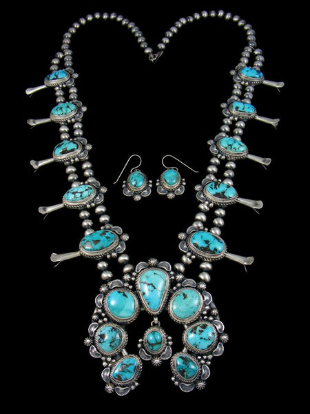 Godber-Burnham Turquoise Squash Blossom Necklace Set