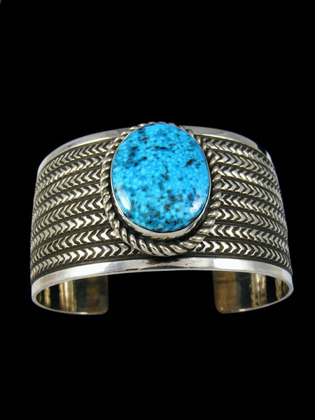 Native American Indian Stamped Kingman Turquoise Cuff Bracelet