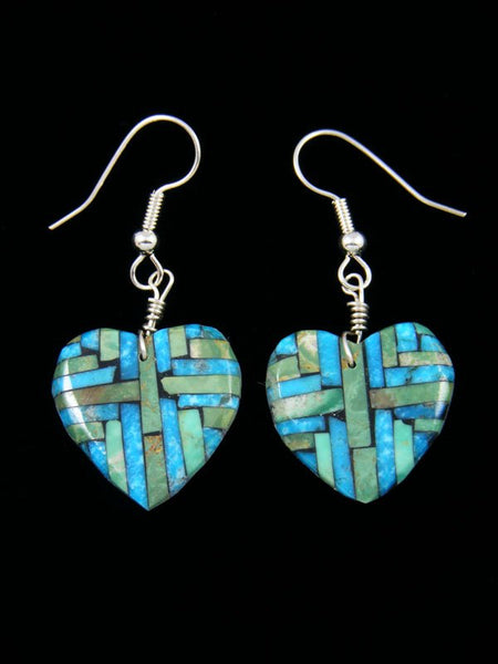 Santo Domingo Turquoise Inlay Heart Mosaic Earrings