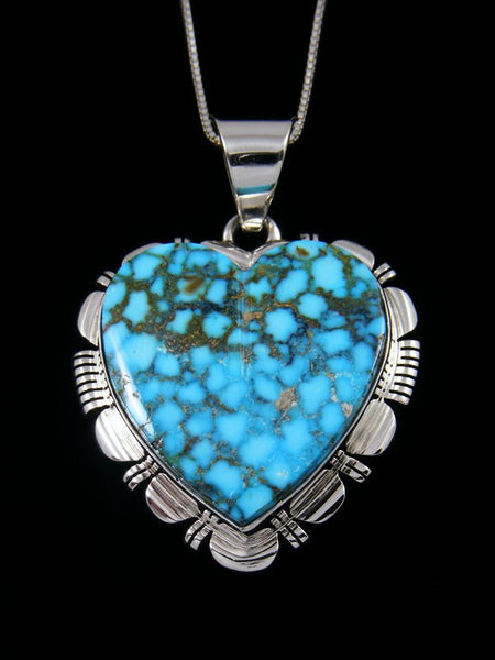 Native American Sterling Silver Kingman Turquoise Heart Pendant