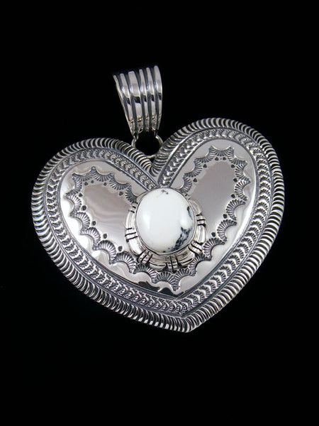 Large Native American White Buffalo Sterling Silver Heart Pendant