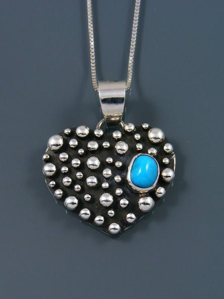 Turquoise Heart Navajo Handmade Droplet Pendant