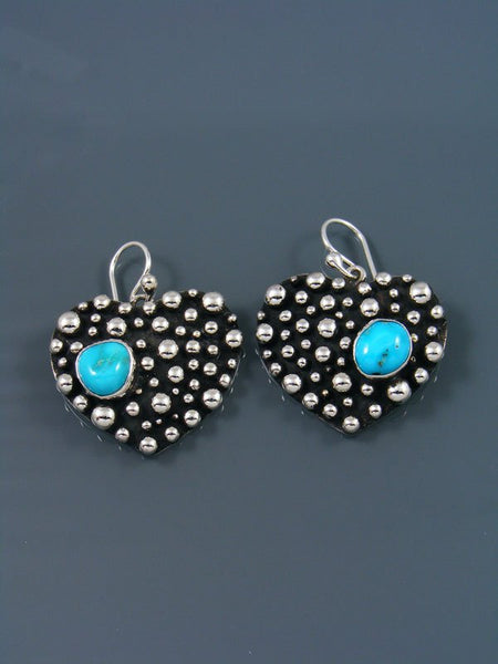 Native American Droplet Turquoise Heart Dangle Earrings