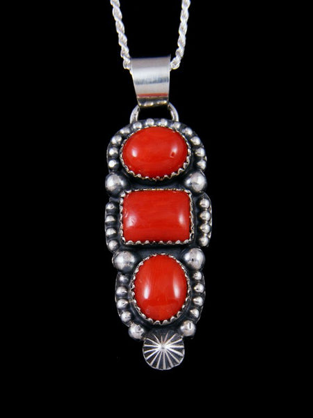 Native American Coral Sterling Silver Pendant