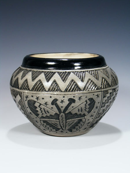 Navajo Etched Pottery Butterfly Bowl