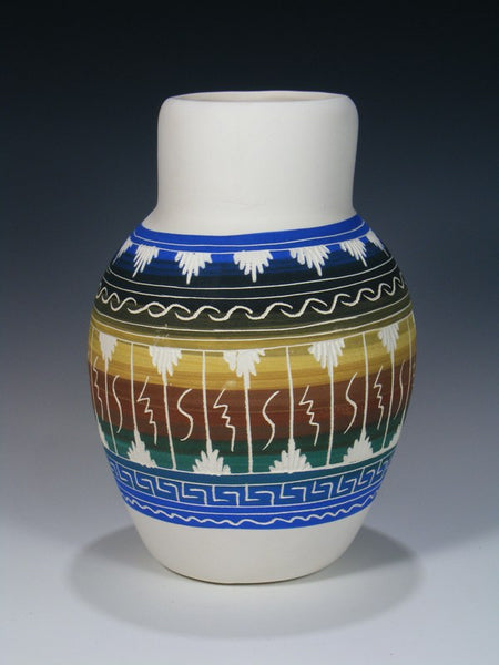 Painted Etched Navajo Pottery Vase