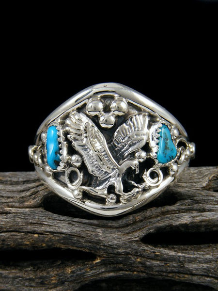 Navajo Sterling Silver Turquoise Eagle Ring, Size 15