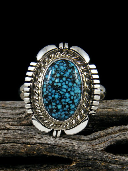 Kingman Blackweb Turquoise Ring, Size 8