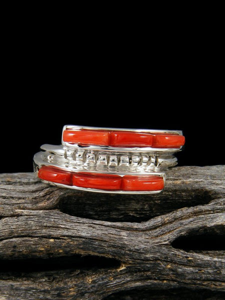 Natural Coral Inlay Ring, Size 8
