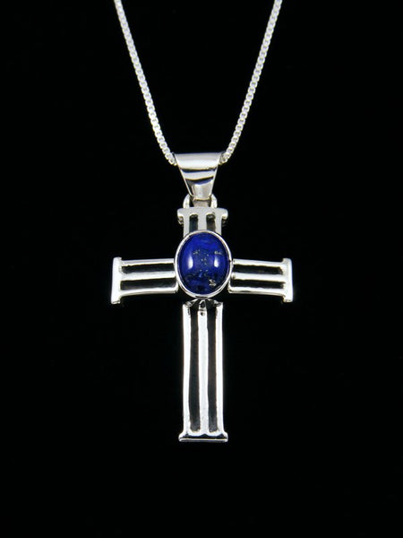 Navajo Necklace Lapis Cross Pendant