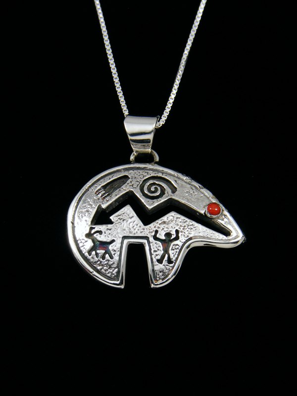 Navajo Sterling Silver Petroglyph Bear Coral Necklace