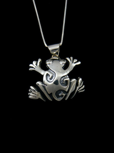 Navajo Sterling Silver Overlay Frog Necklace