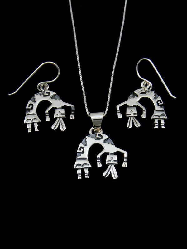 Navajo Sterling Silver Overlay Yei Figure Necklace Set