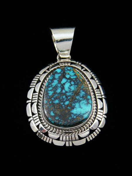 Native American Sterling Silver Cloud Mountain Turquoise Pendant