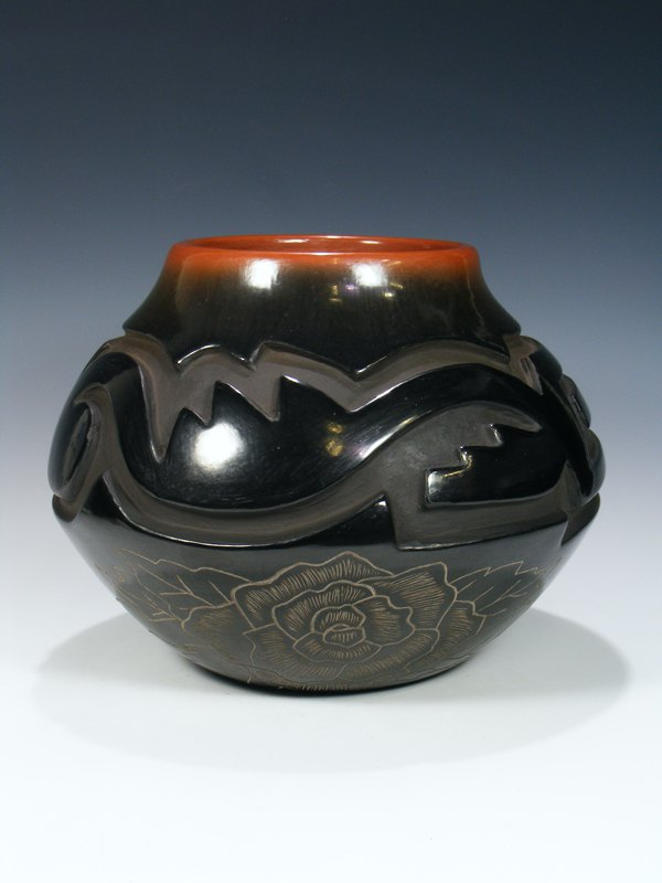 Large Santa Clara Pueblo Hand Coiled Black Pottery Seed Pot
