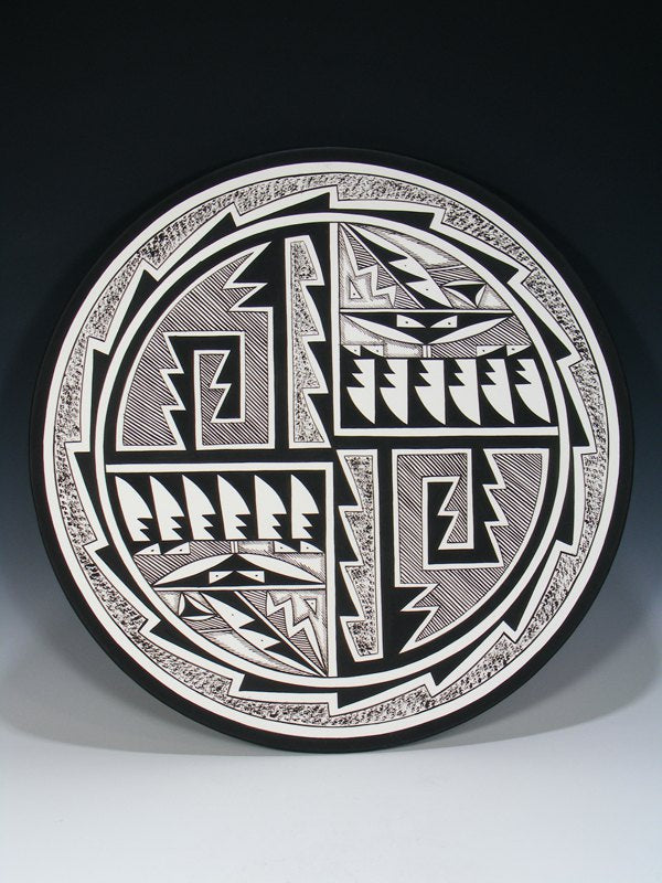 Acoma Pueblo Pottery Geometric Painted Plate