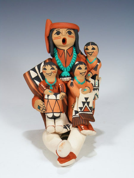 Jemez Pueblo Pottery Male Storyteller Doll With 3 Children