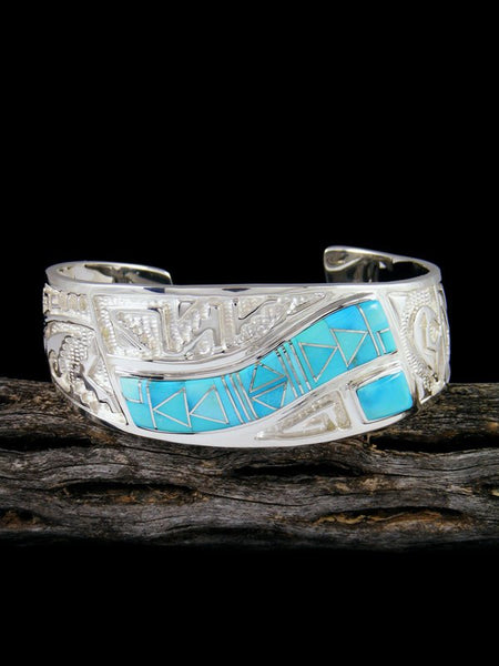 Large Navajo Sterling Silver Turquoise Inlay Cuff Bracelet