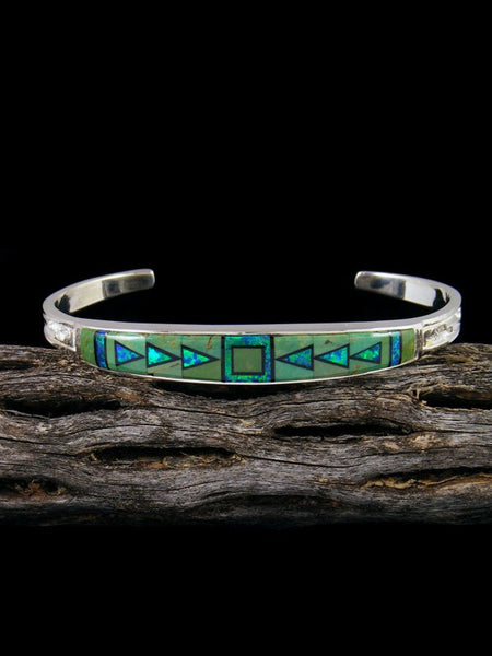 Navajo Sterling Silver Turquoise and Opalite Inlay Cuff Bracelet
