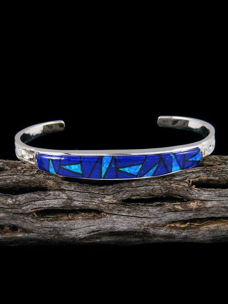 Navajo Sterling Silver Lapis and Opalite Inlay Cuff Bracelet