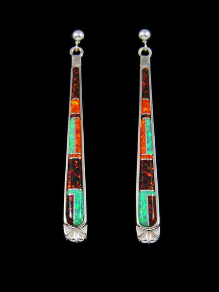 Native American Opalite Inlay Post Dangle Earrings
