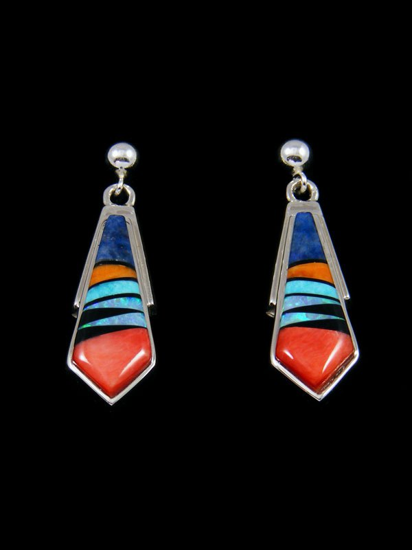 Native American Multistone Inlay Post Earrings