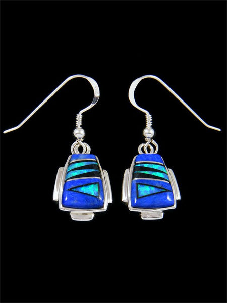 Native American Inlay Lapis and Opalite Dangle Earrings