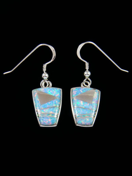 Native American Inlay Opalite Dangle Earrings