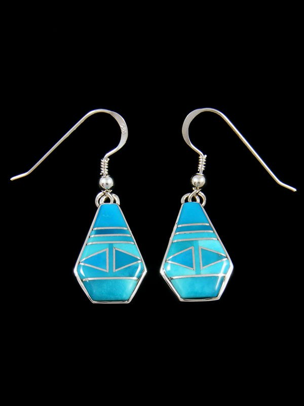 Native American Turquoise Inlay Dangle Earrings