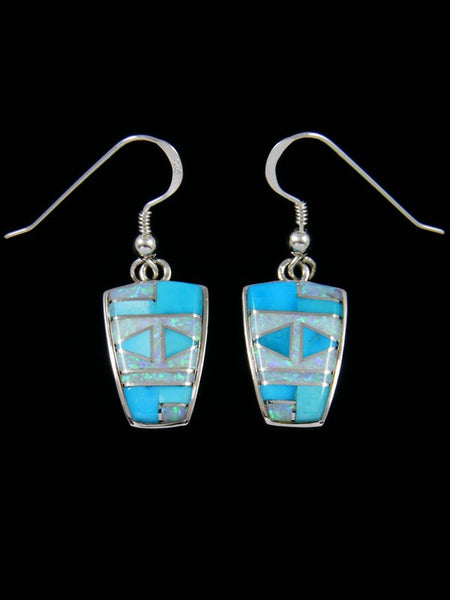 Native American Inlay Turquoise and Opalite Dangle Earrings