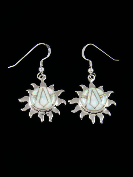 Native American Inlay Opalite Sun Dangle Earrings