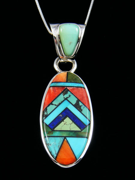 Multi-Stone Oval Inlay Pendant