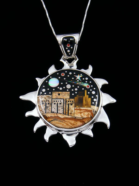 Native American Night Sky Pueblo Scene Inlay Sun Pendant