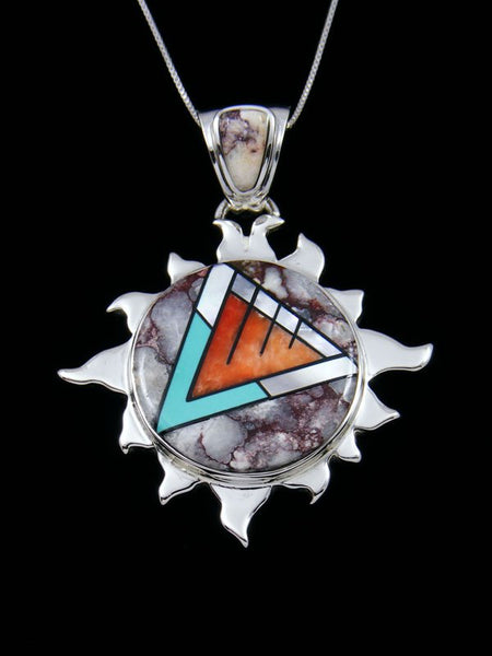Native American Inlay Wild Horse Sun Pendant
