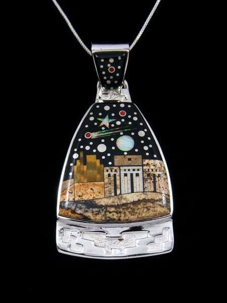Native American Night Sky Pueblo Scene Inlay Pendant
