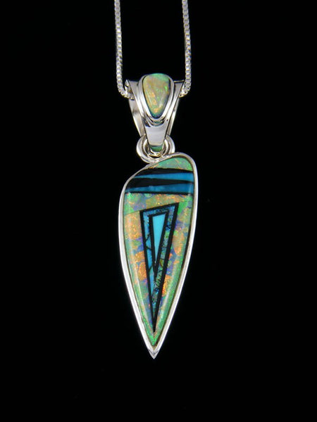 Native American Inlay Cultured Monarch Opal Pendant