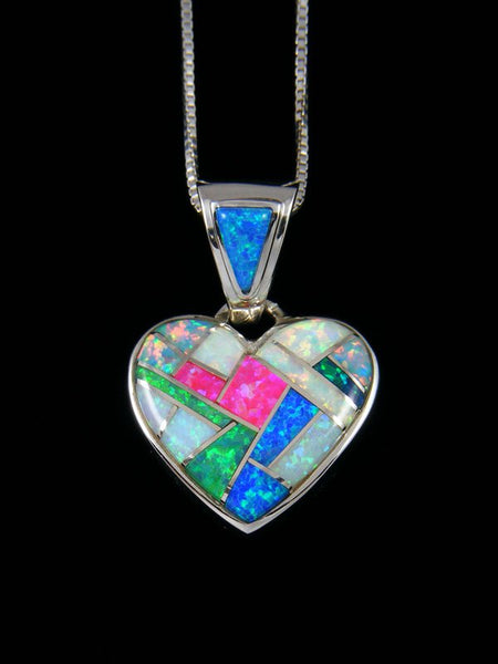 Native American Mosaic Opalite Inlay Heart Pendant