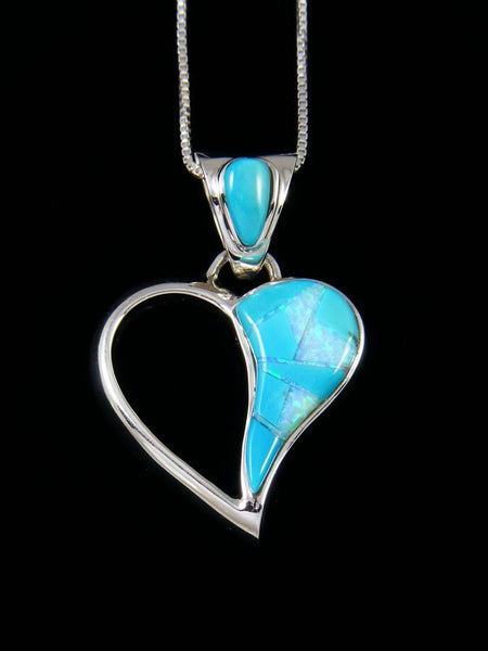 Native American Turquoise and Opalite Inlay Heart Pendant