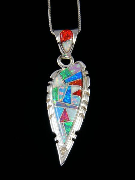 Native American Inlay Mosaic Opalite Pendant