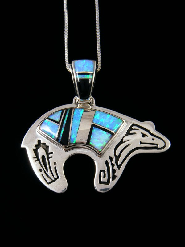 Navajo Overlay Onyx and Opalite Inlay Bear Pendant