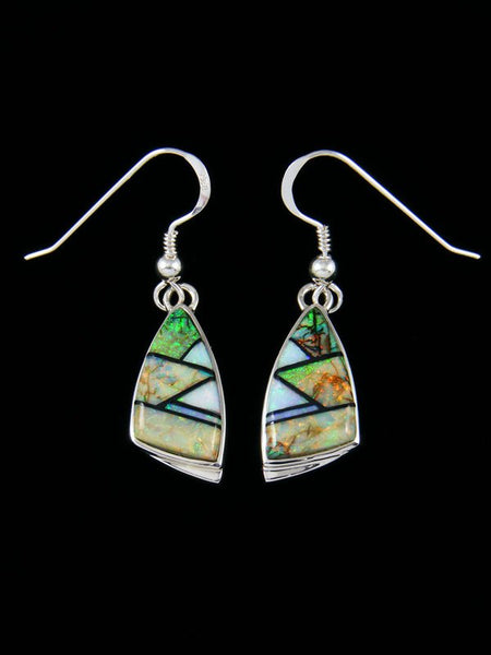 Native American Opalite Inlay Dangle Earrings