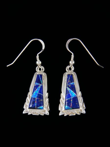 Native American Lapis and Opalite Inlay Dangle Earrings