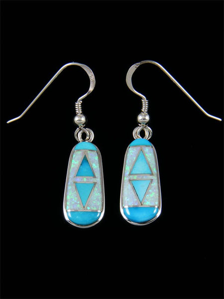 Native American Turquoise and Opalite Inlay Dangle Earrings