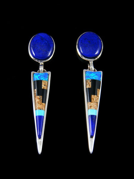Native American Inlay Lapis and Blue Opalite Post Earrings