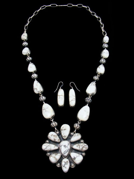 Native American White Buffalo Necklace and Earrings Set