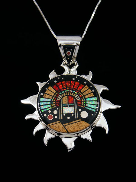 Native American Night Sky Yei Inlay Sun Pendant